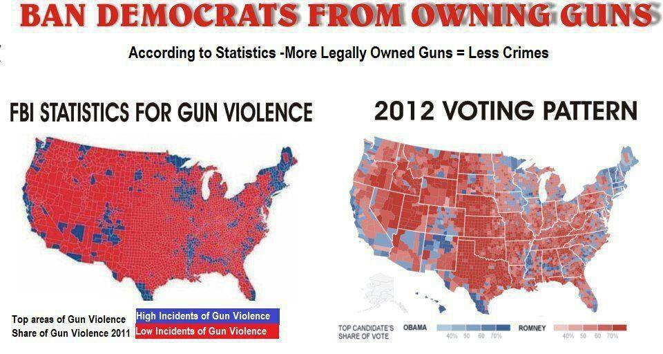 Stop Gun Violence Take Guns From Democrats A Pictorial Lesson - Us gun murders map