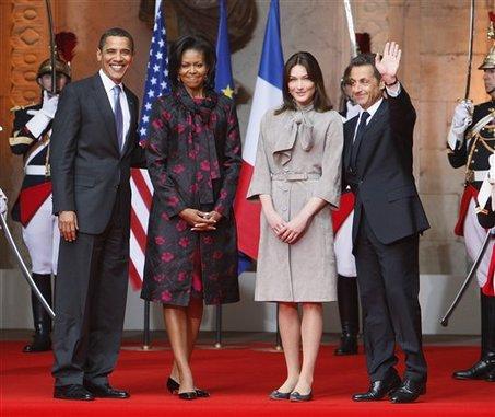 Barack Obama, Michelle Obama, Carla Bruni, Nicolas Sarkozy
