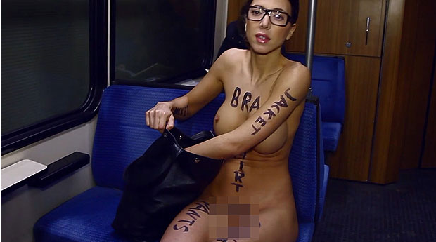 Naked model brightens up journey to work by travelling in the buff   The Sun  News